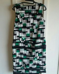 AGB Black & Green Geometric Dress